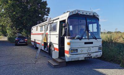 Andreas uns sein umgebauter Bus aus Norwegen